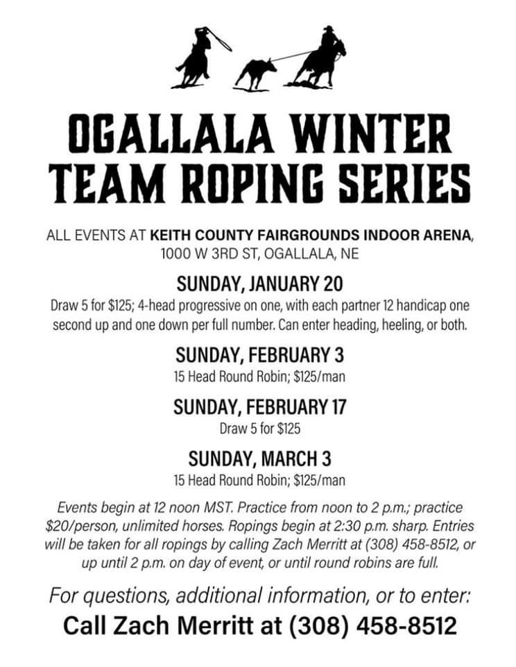Ogallala Winter Team Roping Series @ Keith County Fairgrounds Indoor Arena